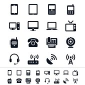 Communication device icons in black and white