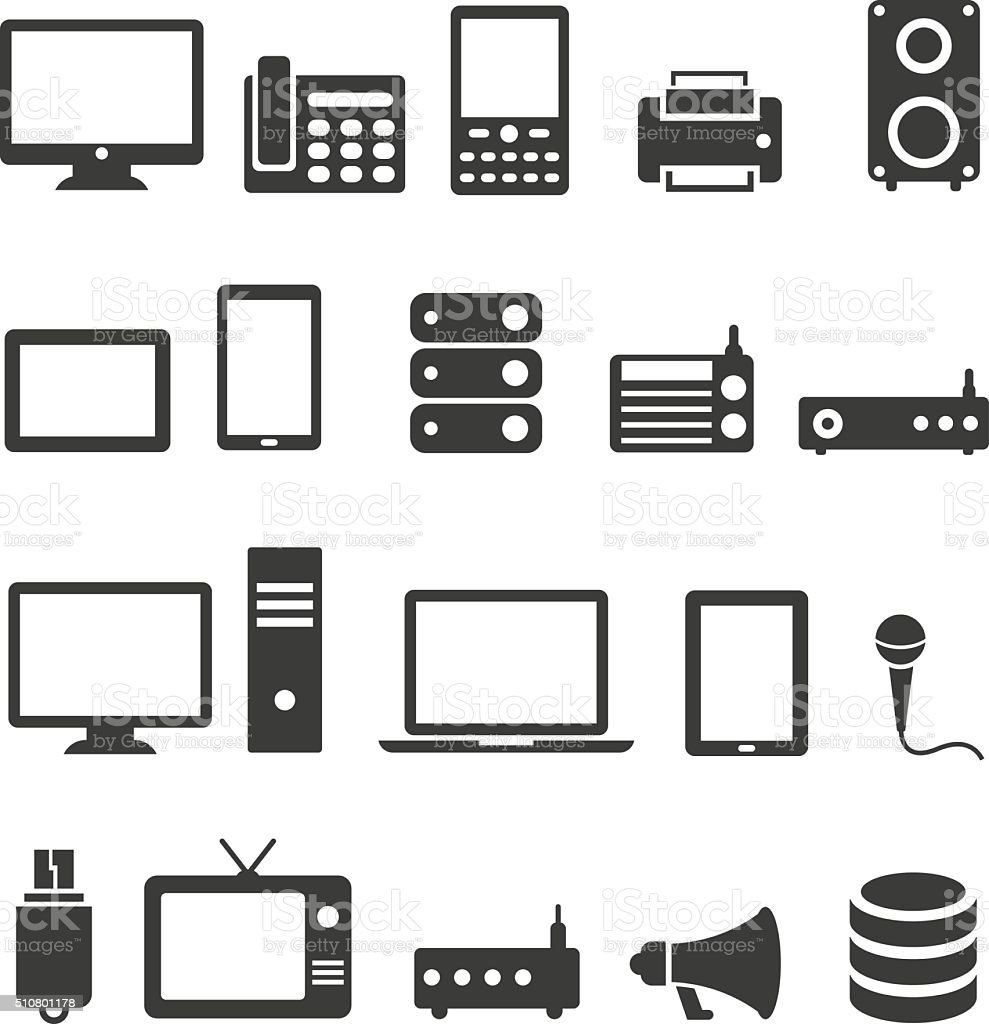Communication device icons vector art illustration