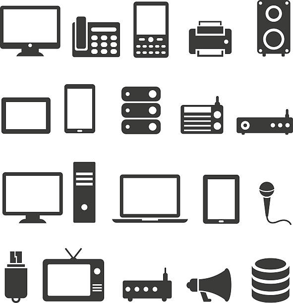 Communication device icons Communication device icons electrical equipment stock illustrations
