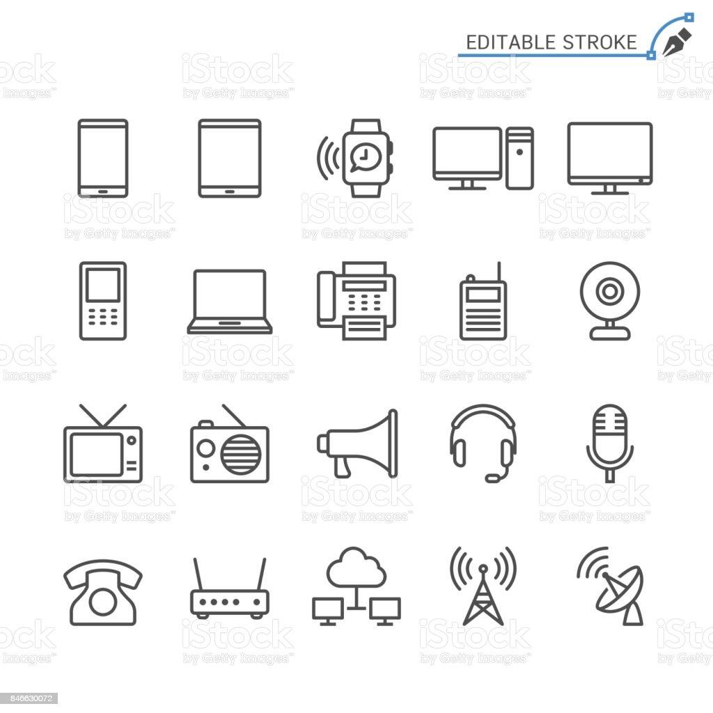 Communication device line icons. Editable stroke. Pixel perfect. vector art illustration