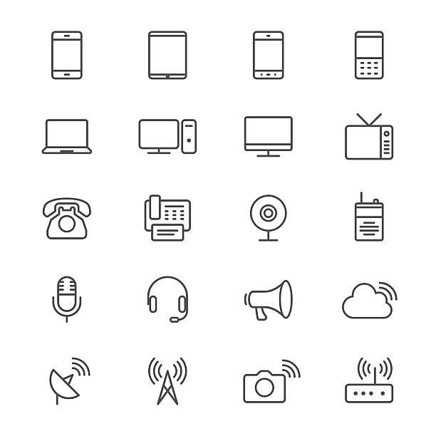 Kommunikation Gerät dünne Symbole – Vektorgrafik
