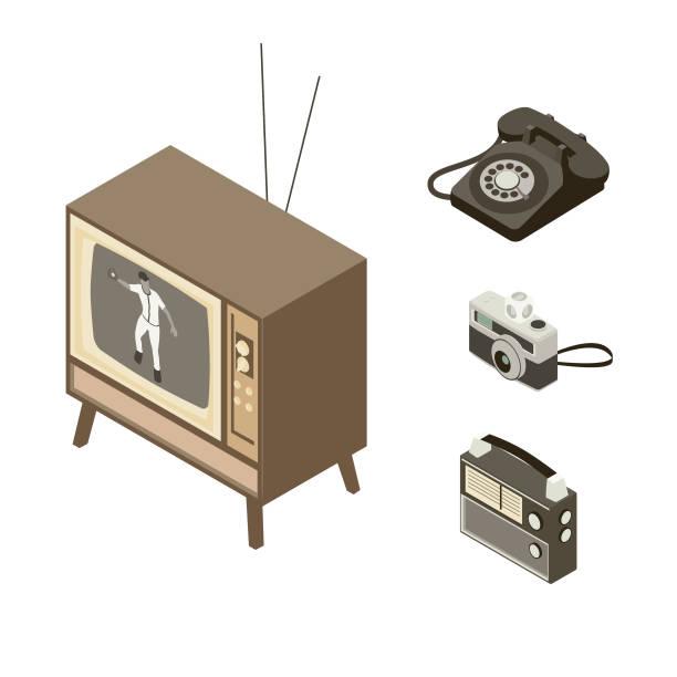 Communication Devices 1950s-1960s vector art illustration