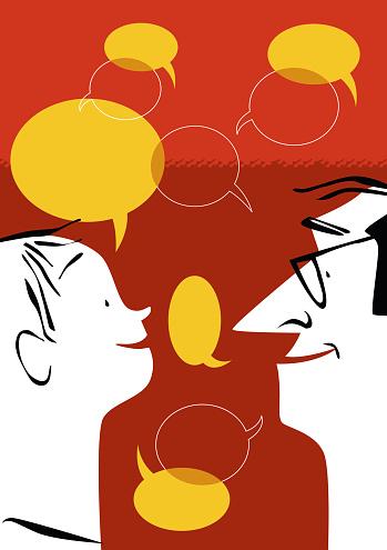 Conversación entre padre e hijo. Profesor y alumno hablando. Lenguaje y dialecto. Personajes hablando de diferentes temas, intercambio de opiniones y charla amena. Opiniones diferentes según generaciones. Adulto y niño hablando. Educar a través de la palabra. Niño convenciendo a adulto. Adulto educando a niño.