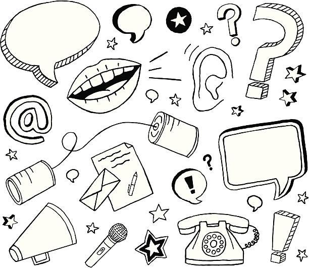 illustrazioni stock, clip art, cartoni animati e icone di tendenza di comunicazione e schizzi - ear talking