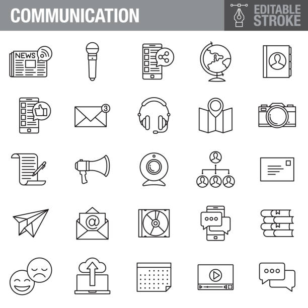 Communication Editable Stroke Icon Set A set of editable stroke thin line icons. File is built in the CMYK color space for optimal printing. The strokes are 2pt and fully editable: Make sure that you set your preferences to 'Scale strokes and effects' if you plan on resizing! conceptual symbol stock illustrations