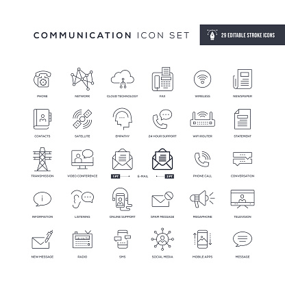 Communication Editable Stroke Line Icons
