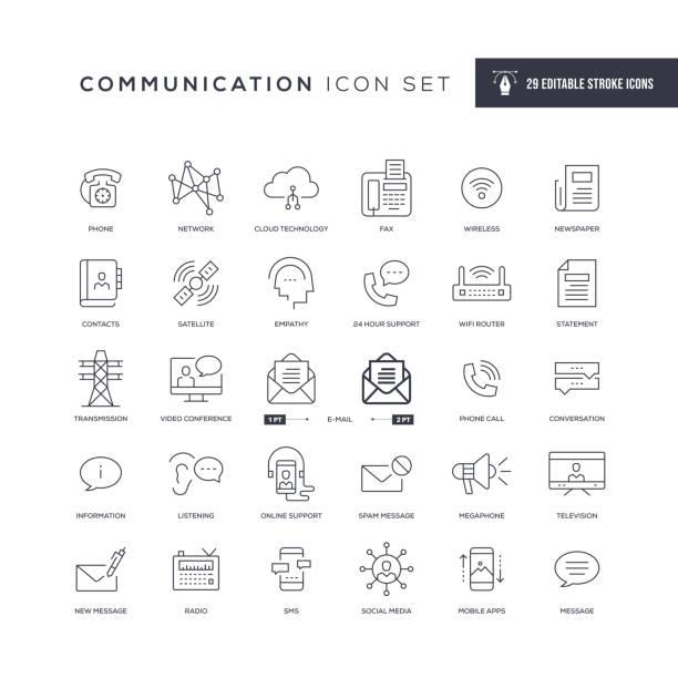 ilustrações, clipart, desenhos animados e ícones de ícones da linha de avc editável de comunicação - social media
