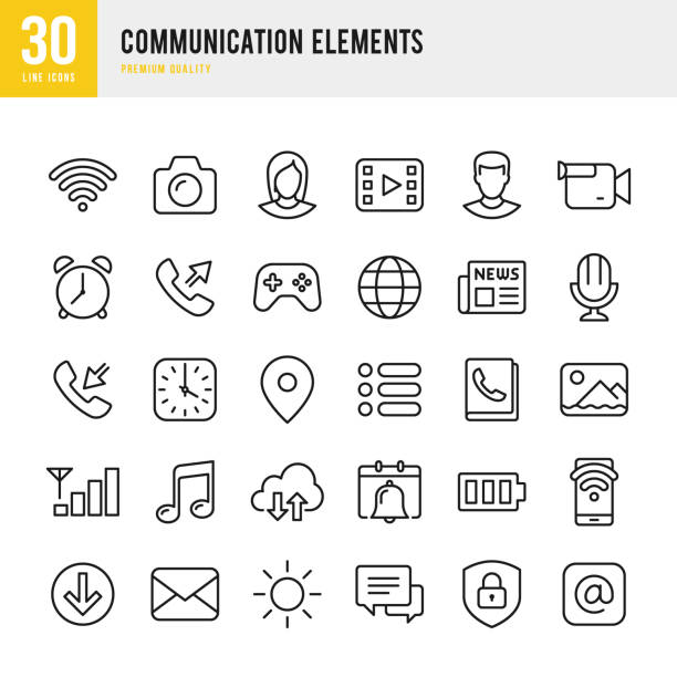 illustrazioni stock, clip art, cartoni animati e icone di tendenza di communication elements - set of thin line vector icons - woman chat video mobile phone