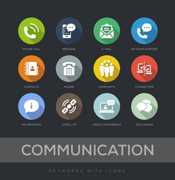 Communication Flat Design Icon Set Communication Flat Design 12 Icons long shadow design stock illustrations