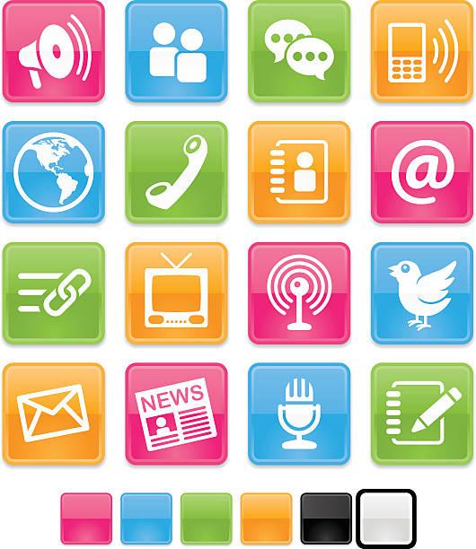 Ensemble d'icônes brillant de Communication - Illustration vectorielle