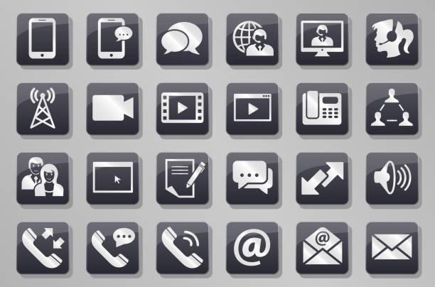 illustrazioni stock, clip art, cartoni animati e icone di tendenza di communication grey button set - woman chat video mobile phone