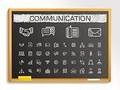Communication hand drawing sketch icons set. Vector doodle blackboard illustration