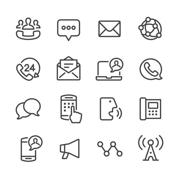 Communication Icon Set - Line Series Communication, Connection, Media, call centre illustrations stock illustrations