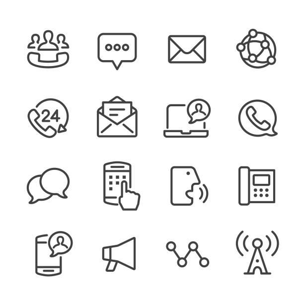 bildbanksillustrationer, clip art samt tecknat material och ikoner med kommunikation ikonuppsättning - line serien - it support