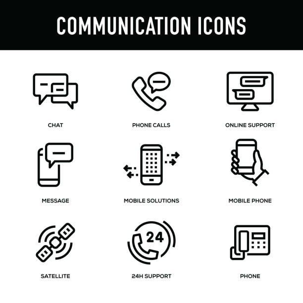 communication icon set - thick line series - call center stock illustrations, clip art, cartoons, & icons