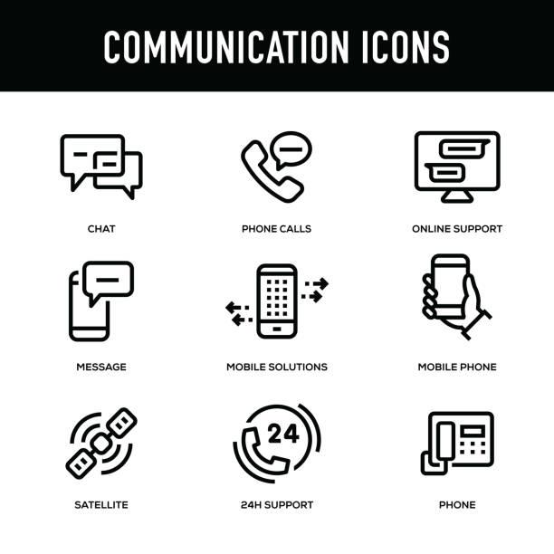 통신 아이콘 세트-두꺼운 라인 시리즈 - hand holding phone stock illustrations