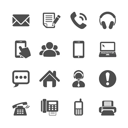 communication icon set, vector eps10
