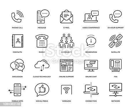 Communication Icon Set - Thin Line Series