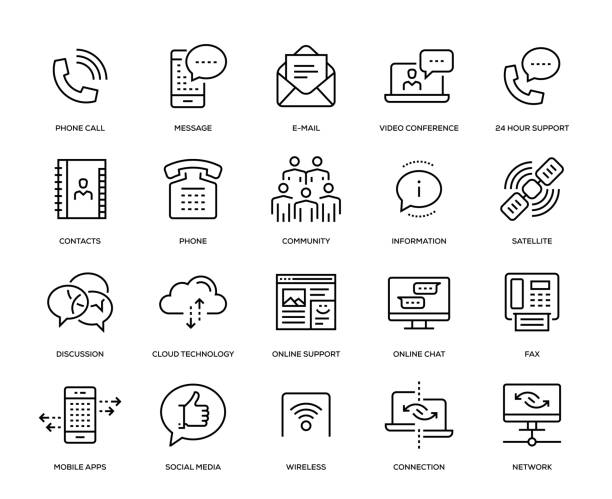 communication icon set - call centre stock illustrations