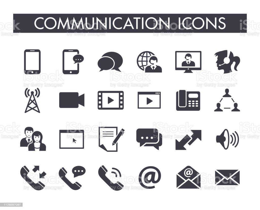 Communication icon set - Royalty-free A usar um telefone arte vetorial