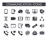 Collection of 24 different communication icons