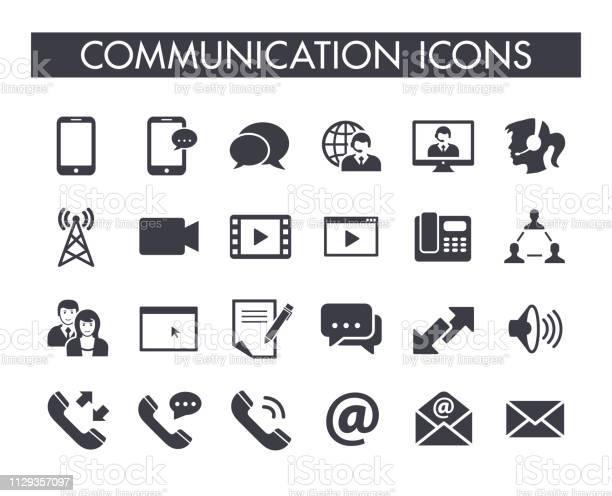 Communication Icon Set - Arte vetorial de stock e mais imagens de A usar um telefone