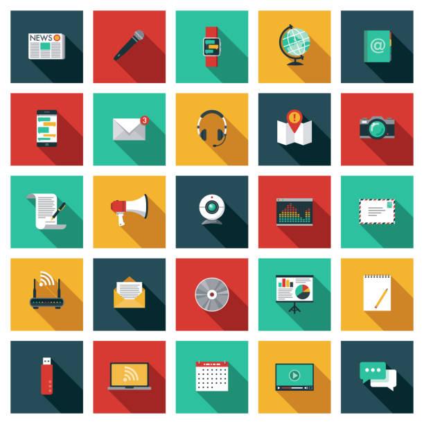 kommunikationssymbol-set - flat design stock-grafiken, -clipart, -cartoons und -symbole