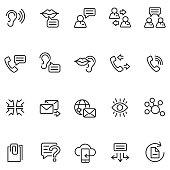 Communication icon set , vector illustration