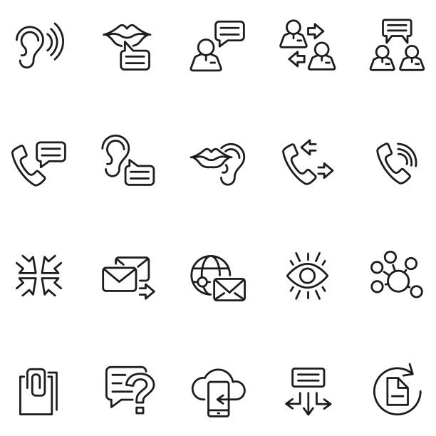 illustrazioni stock, clip art, cartoni animati e icone di tendenza di communication icon set - ear talking