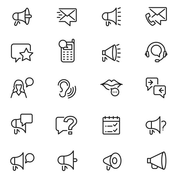 communication icon set - język otwór gębowy stock illustrations