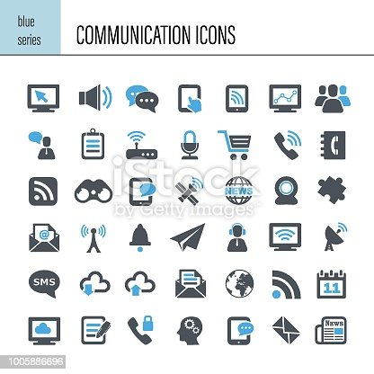 Vector communication icon. Blue series