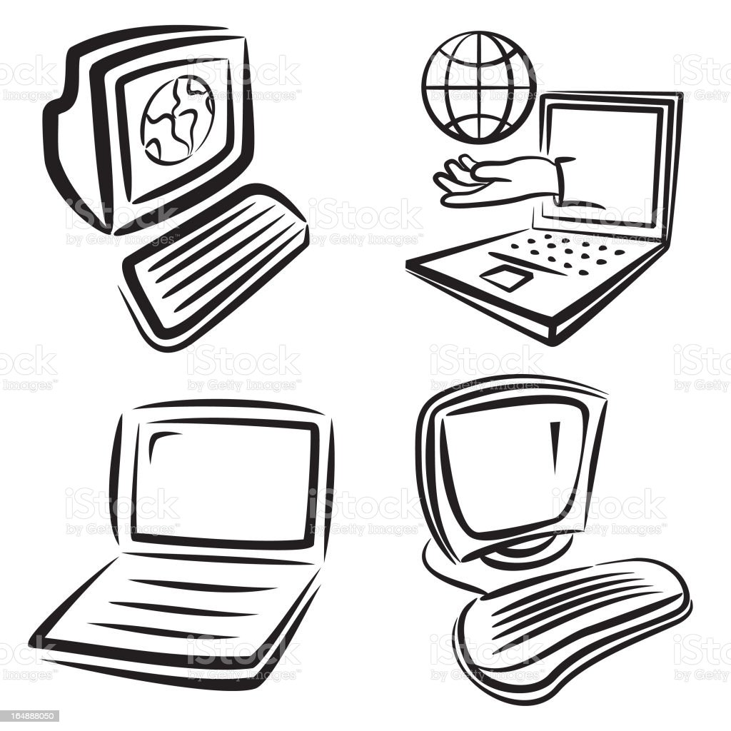 Communication Icons: Computers royalty-free stock vector art