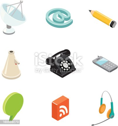Isometric communication icons.
