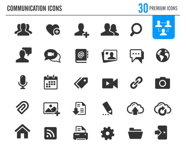 communication icons // premium series - virtual meeting stock illustrations