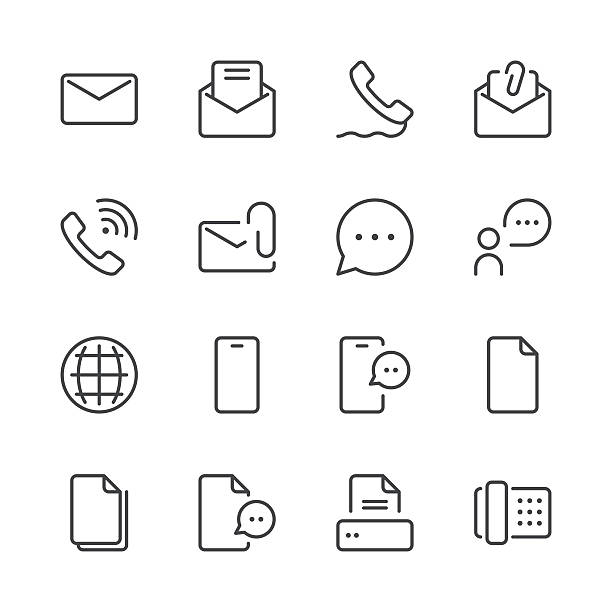 Communication Icons set 1 | Black Line series Set of 16 professional and pixel perfect icons ready to be used in all kinds of design projects. EPS 10 file. web address stock illustrations