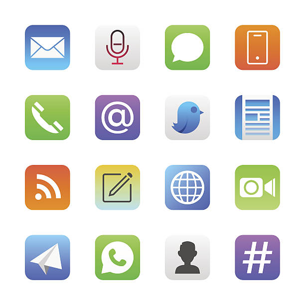 communication icons set 1 | manhattan series - app stock illustrations