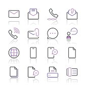 Communication Icons set 1 | Purple Line series