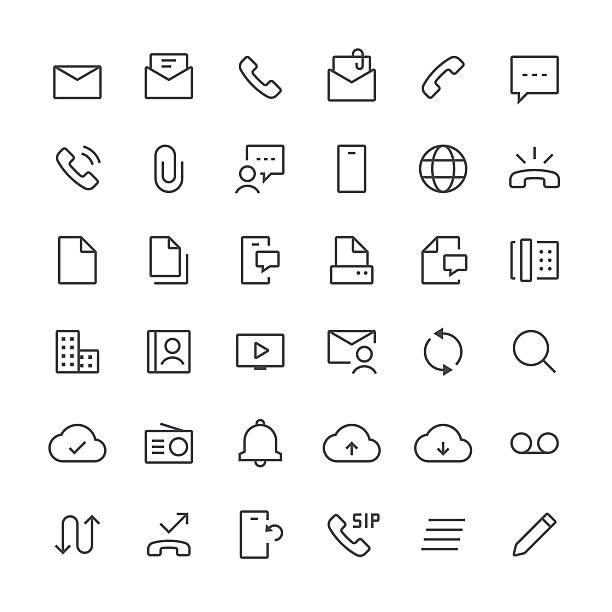 ilustraciones, imágenes clip art, dibujos animados e iconos de stock de communication icons set 1/línea fina serie - lentes contacto