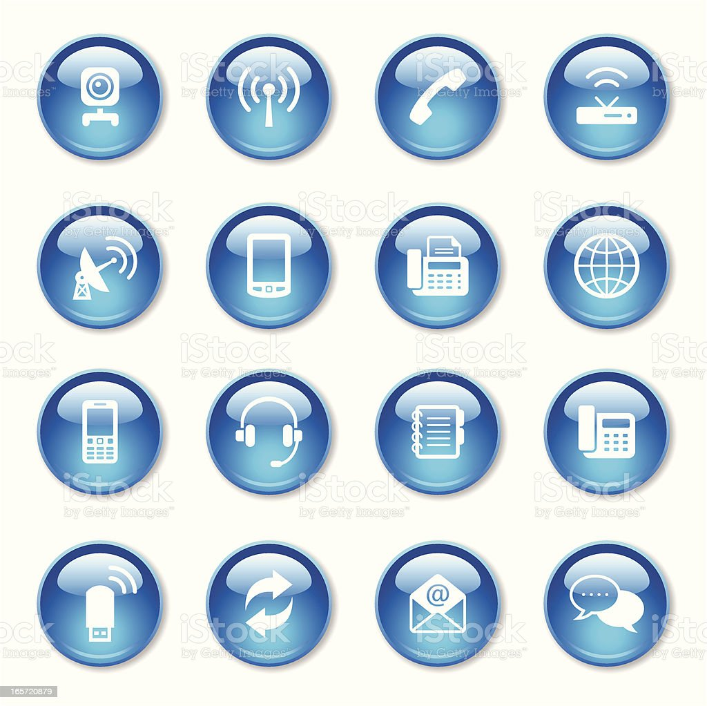 Communication Icons Set royalty-free communication icons set stock vector art & more images of blue