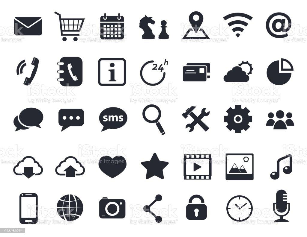 communication icons set vector art illustration