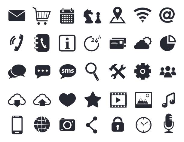 communication icons set - social stock illustrations, clip art, cartoons, & icons