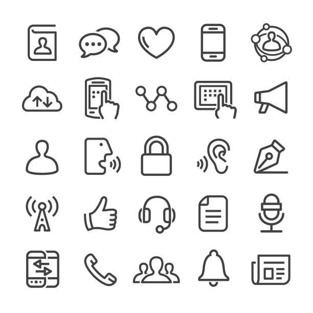 illustrazioni stock, clip art, cartoni animati e icone di tendenza di communication icons - smart line series - ear talking