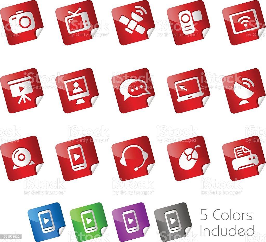 Communication Icons // Stickers Series communication icons stickers series – cliparts vectoriels et plus d'images de antenne parabolique libre de droits