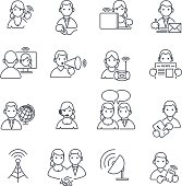 Communication icons thin line.