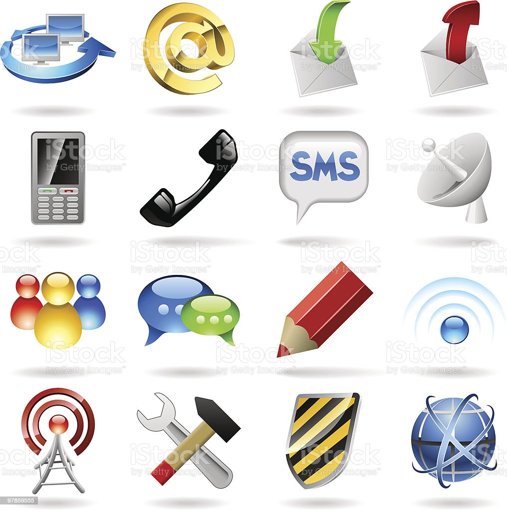 Communication icons royalty-free communication icons stock vector art & more images of antenna - aerial