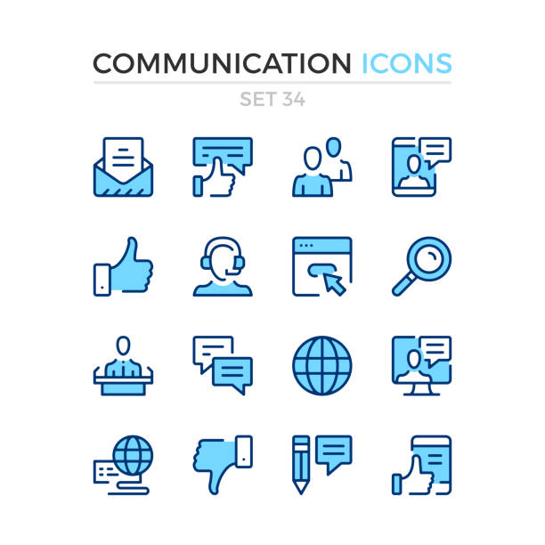 Communication icons. Vector line icons set. Premium quality. Simple thin line design. Stroke, linear style. Modern outline symbols, pictograms. Communication icons. Vector line icons set. Premium quality. Simple thin line design. Stroke, linear style. Modern outline symbols, pictograms. blue icons stock illustrations