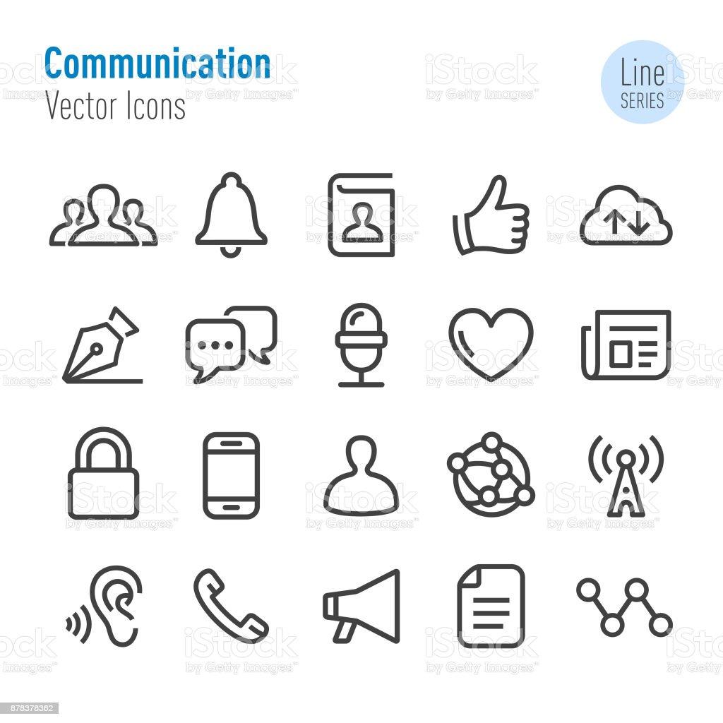 Ícones de comunicação - vetor linha série - ilustração de arte em vetor