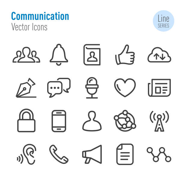 communication icons - vector line series - social stock illustrations, clip art, cartoons, & icons