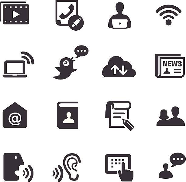 illustrazioni stock, clip art, cartoni animati e icone di tendenza di icone di comunicazione-serie acme - video call