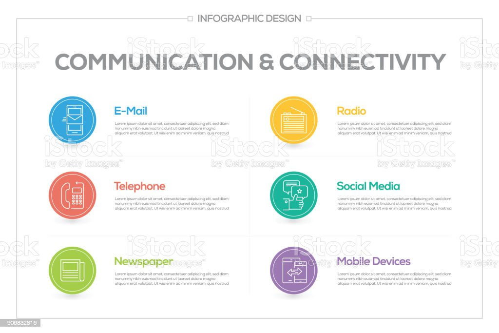 Communication Infographic with 6 options, steps or processes. vector art illustration